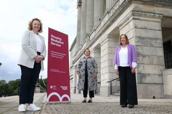 Communities Minister Carál Ní Chuilín is pictured with Housing Mediator Faith Westwood and Mediation Manager Laura Coulter