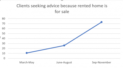 showing over 500% increase in renters seeking advice because property is for sale